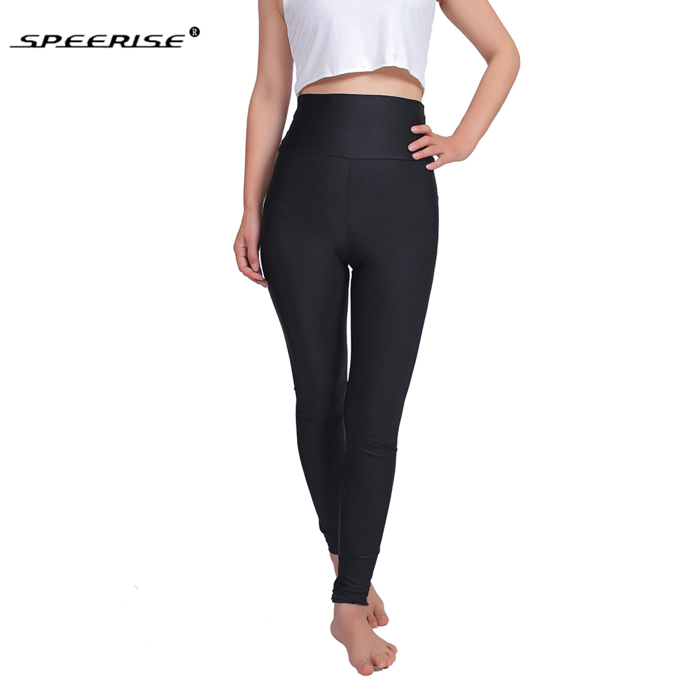 SPEERISE Womens Full Length High Waisted Leggings Dance Pants Plus Size Lycra Spandex Waistband Elastic Fitness Pants-in Leggings from Women's Clothing