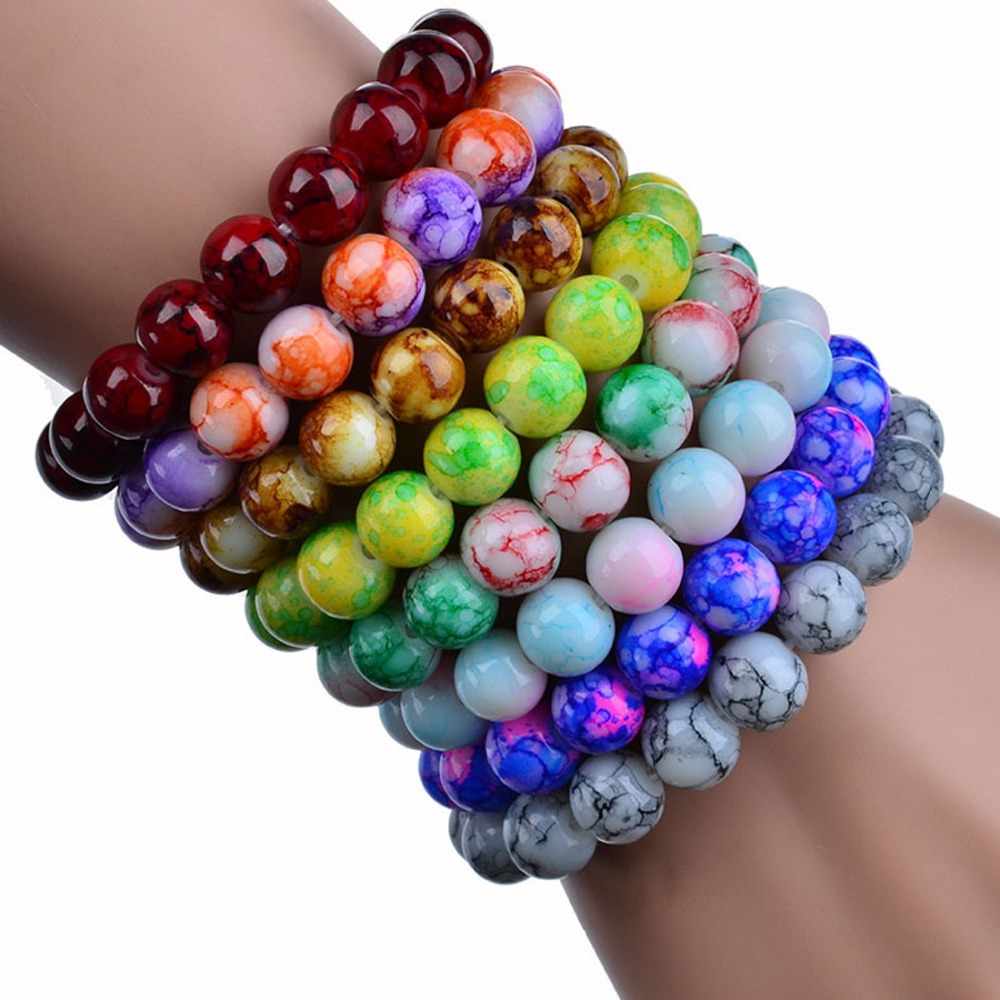 AAA+ Quality 2015 Handmade Natural Stone Stretch/Elastic Glass Beads Charm Bracelets  Women Fashion Jewelry Gifts Free Shipping