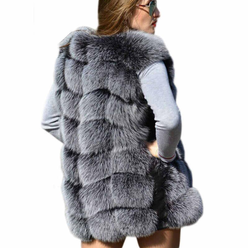 フェイクスライバーキツネの毛皮のベスト女性の冬のファッションミディアムロング人工キツネの毛皮のベスト女性暖かいフェイクキツネの毛皮のコート女性