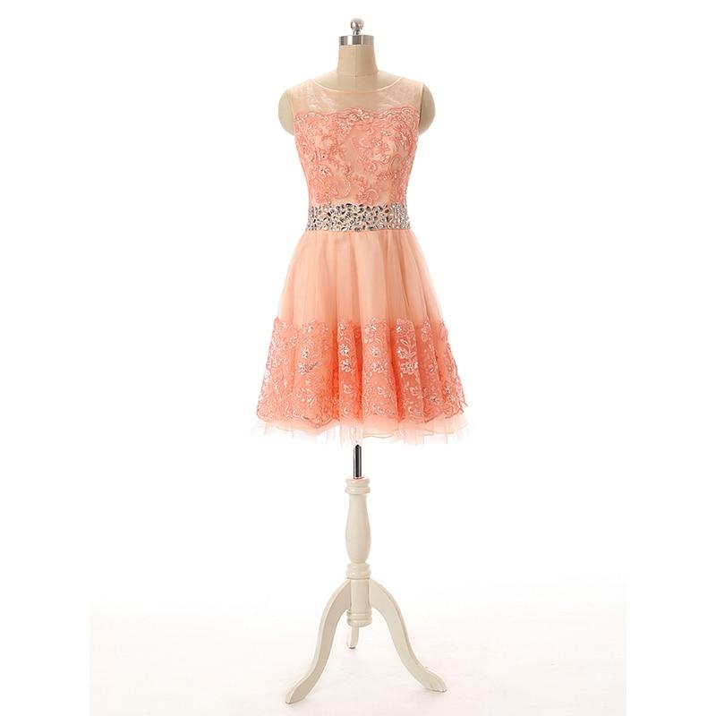 2018 robe De bal De couleur corail Sexy perlée cristal dentelle courte robe formelle robes Largos De Fiesta Elegante