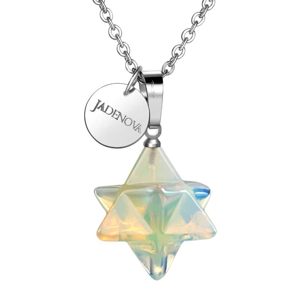 3D Merkaba Star Necklace Pendant Necklace Chakra Reiki Energy Healing Crystal Jewelry 18 inch Stainless Steel Chain