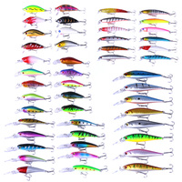 48pcs Fishing Lures Mixed Artificial Crank Bait Tackle ABS Durable Fishing Lure 3D Attractive Fishing Lures Soft Bait Tackle