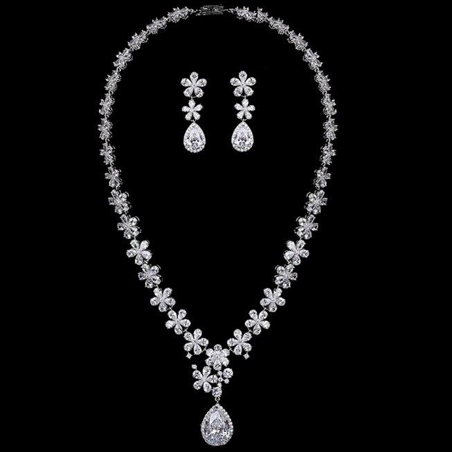 3A de haute qualité zircon pendentif fleur bijoux de mariée ensembles de bijoux