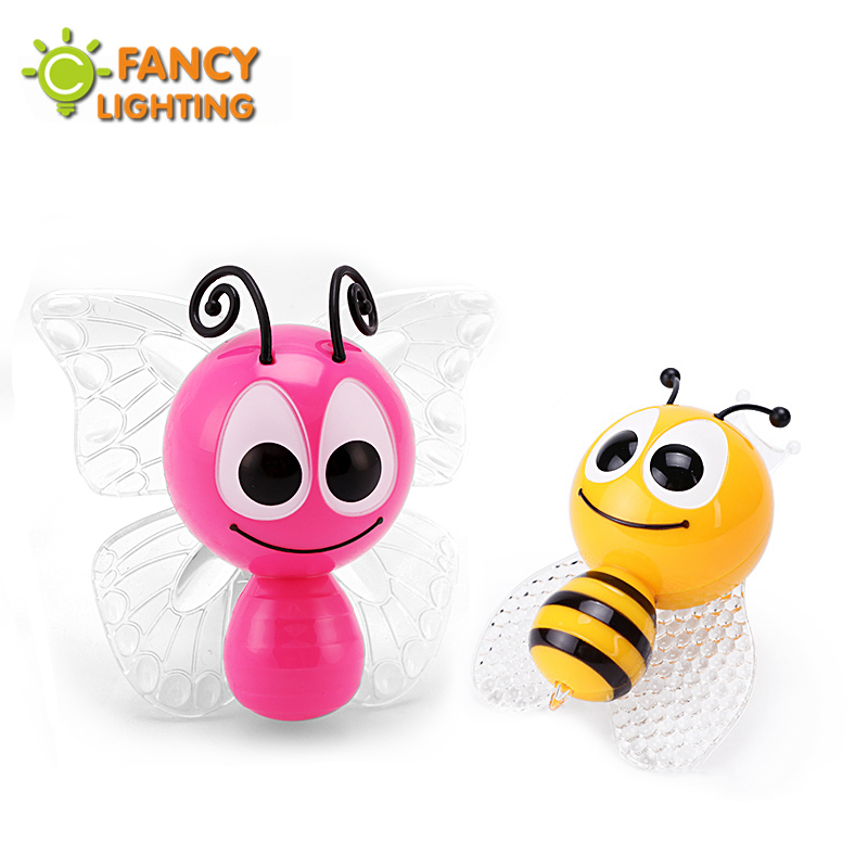 Led night light Bee & Butterfly baby lamp EU-Plug bedside lamp for a holiday/home/children/kids/bedroom decor 85-265V nightlight creative cute green cartom car led night light for children baby kids white warm white bedside lamp resin night lamp gift
