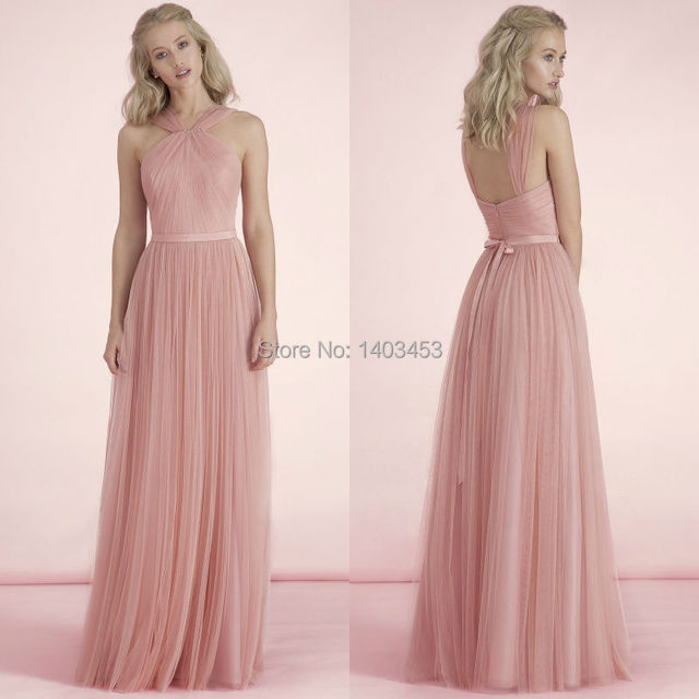 Kelsey Rose 2015 New Pastel Pink Blush Tulle Halter Long Bridesmaid Dress  With Bowknot Draped Pleating Wedding Party Dress 148969fcc