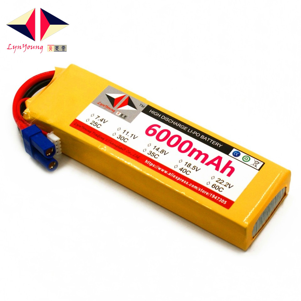 LYNYOUNG RC <font><b>Lipo</b></font> Battery <font><b>2S</b></font> 7.4V <font><b>6000mAh</b></font> 60C Max 120C for Car Boat Helicopter Quadcopter parts image