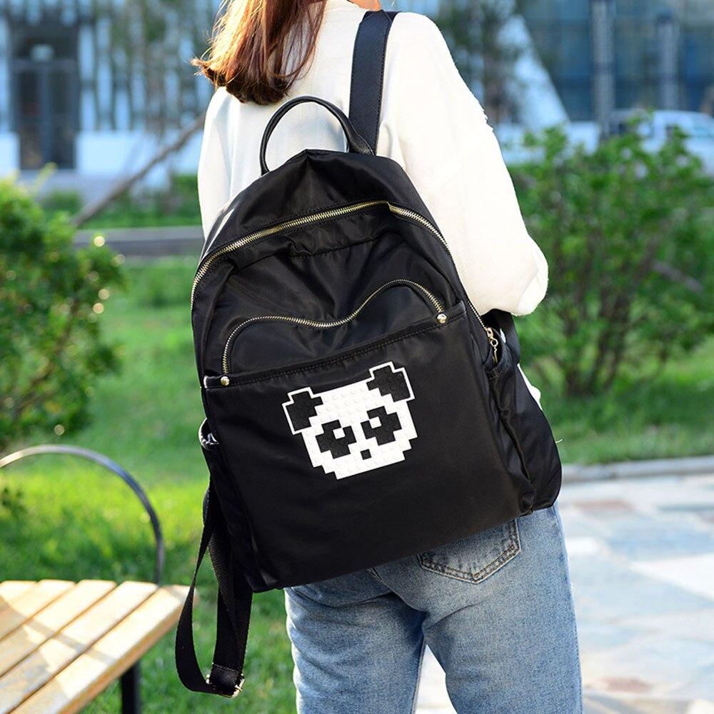 New Fashion Casual Unisex Backpack Nylon Panda Printing Backpacks Waterproof Shoulder Bags School Backpack Female Purse Bolsa