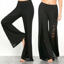 цена New Fashion Women Boho High Waist Lace Palazzo Pants Wide Leg Long Loose Culottes Female Casual Apparel Plus Size в интернет-магазинах