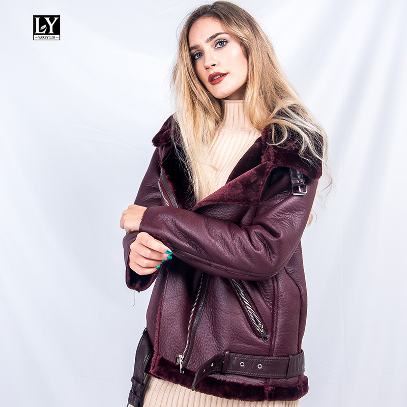Ly Varey Lin Winter Women Faux Lamb   Leather   Jacket Female Warm Thick   Suede   Jacket Faux   Leather   Lambs Wool Fur Collar Coats
