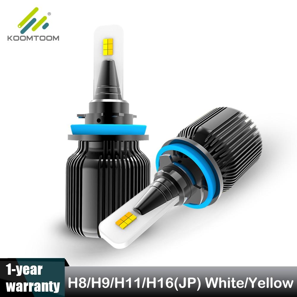 Koomtoom H11 Dual Color Headlight Bulb H8 Led Car Light 6500K White 3000K Gold Yellow H8 Fog Lamp 60W 4000LM Y19 Chip 12V K19