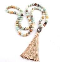 Бесплатная доставка Модные камни амазонита богемный Ювелирные украшения в этническом стиле овальная жемчужина хрустальный шар и кисточко...