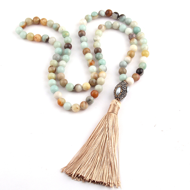 O Envio gratuito de Moda Amazonita Pedras Bohemian Tribal Jóias Oval Pérola Bola de Cristal & Colar Tassel