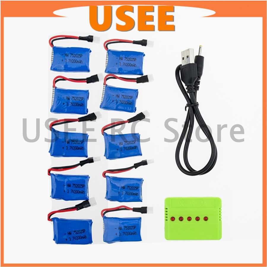 10pcs <font><b>3.7V</b></font> <font><b>Lipo</b></font> <font><b>200mAh</b></font> Li-po <font><b>Battery</b></font> With 5in1 USB Fast Charger Set For Syma X4 X11 X11C X13 Quadcopter RC Drone parts free ship image
