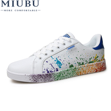 MIUBU Hot Sale Spring Mens Casual Shoes Flat Lace-up Fashion Brand PU Leather Men White Loafers School Man