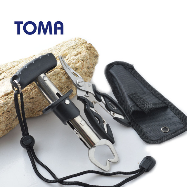 TOMA Stainless Steel Fishing Grip Set Fish Gripper Control + Multifunction Fishing tool Pliers Fishing Tackle