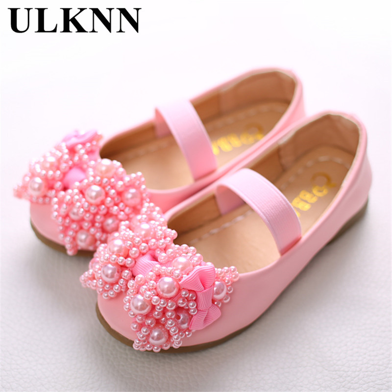 ULKNN Leather Shoes For Girls Cute Sweet Stylish Pink Bow Flat With Tendon Kids Shoe Children's Wear-resistant White Shoes 26-36