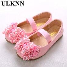Ulknn sapatos de couro para meninas bonito doce à moda rosa arco plano com tendão crianças sapatos brancos resistentes ao desgaste das crianças 26 36