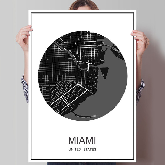 Hot sale miami travel poster world city map oil painting canvas hot sale miami travel poster world city map oil painting canvas coated paper simple print picture gumiabroncs Image collections