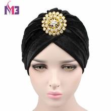 New Luxury Women Brooch Velvet Turban Casual Double Stretch Hijab Headwrap Turbante Hat For