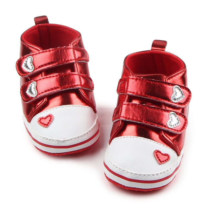 New Spring Baby First Walkers Boys Newborn Baby Girls Classic Heart-shaped PU Leather First Walkers Tennis Lace-Up Shoes