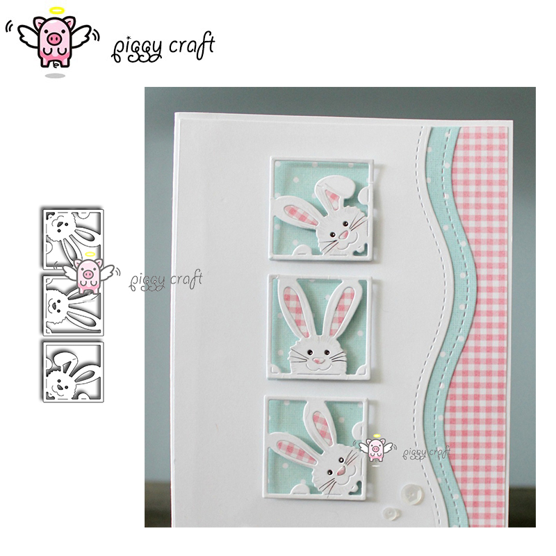 Piggy Craft Metal Cutting Dies Cut Die Mold New Cute Rabbit Frame Scrapbook Paper Craft Knife Mould Blade Punch Stencils Dies