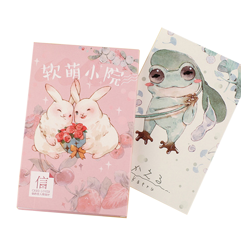 30pcs/lot Kawaii Small Courtyard Postcard Pink Cute Animals Rabbits Cards Bookmark Postcards Party Gift Supplied Student Office