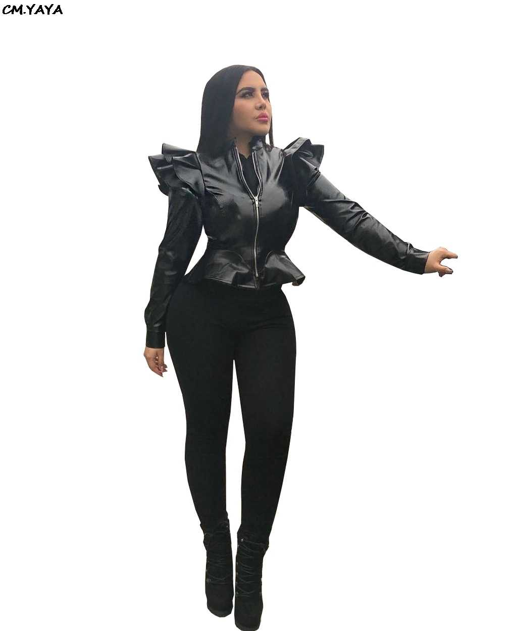 women new ruffles shoulder Flounce long sleeve zip up open faux leather PU jackets fashion lady coats black S-2XL GLA5043