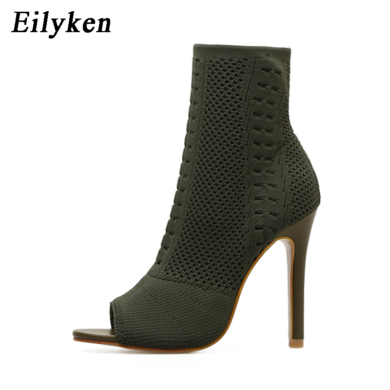 Eilyken Womens Boots Green Elastic Knit Sock Boots Ladies Open Toe High Heels Fashion Kardashian Ankle Boots Women Pumps