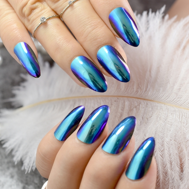 24pcs Blue Mirror Stiletto Nails Medium Size Pointed Almond Shape Acrylic Finished Nail Tips For Makeup