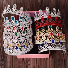 New Fashion Elegant Color Crystal Bridal crown classic Gold Tiaras for Women Wedding hair jewelry accessories Free shippingT-698