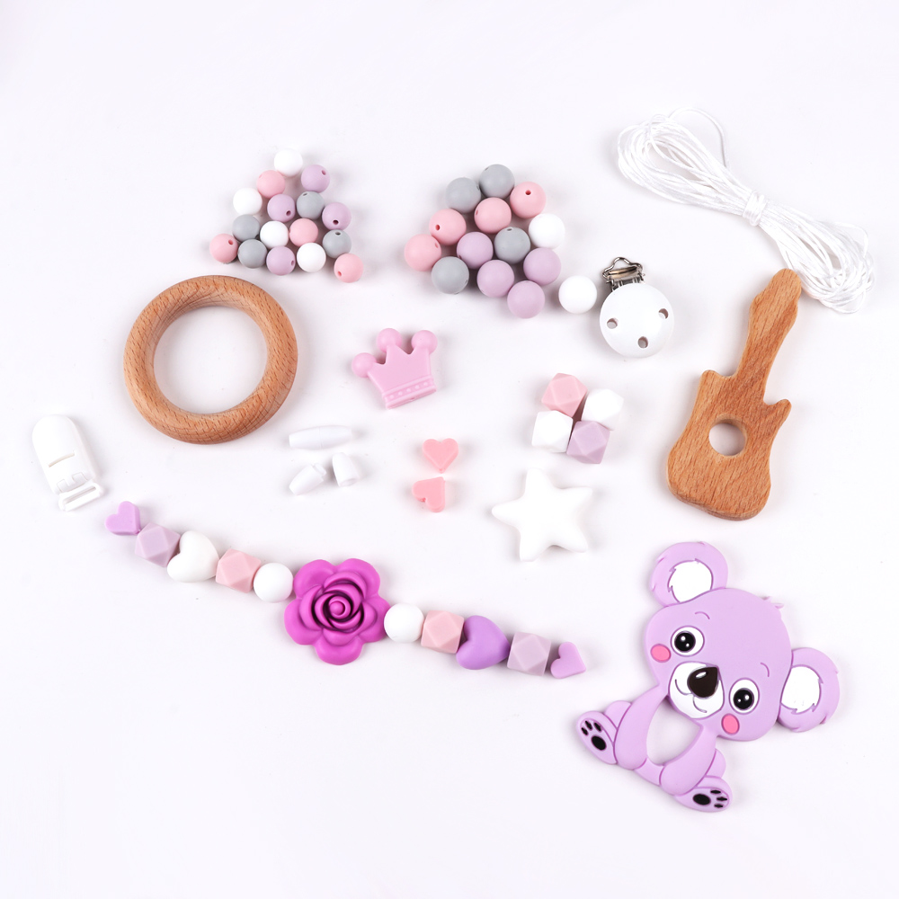 TYRY.HU Baby Teether Silicone Bead DIY Set Food Grade Silicone Teether Baby Teething Toy Beech Wooden Accessories Set Beads