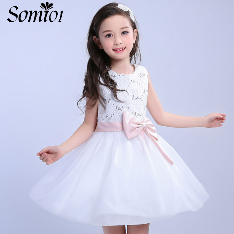 Children Princess Dresses 2017 Summer Sleeveless Girls Sequin Party Wedding Prom White Dress Toddler Teen Girl 3 5 9 10 12 Years baby girls white dresses for wedding and party wear girl princess dress kids lace clothes children costume age 3 4 5 6 7 8 9 10