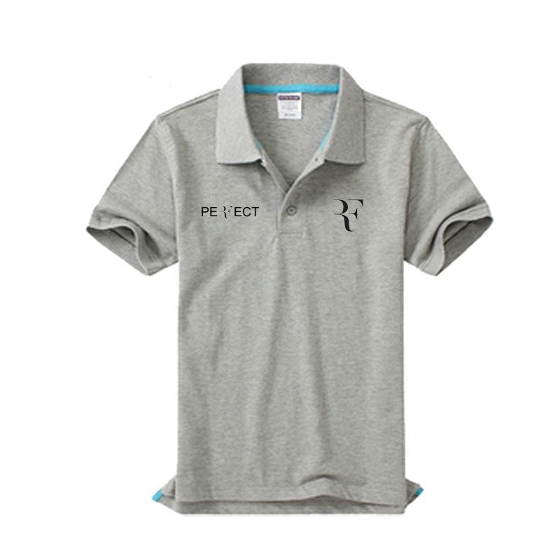 Brand clothing RF roger federer logo   Polo   Shirt Casual solid male   polo   shirt Short Sleeve High quality