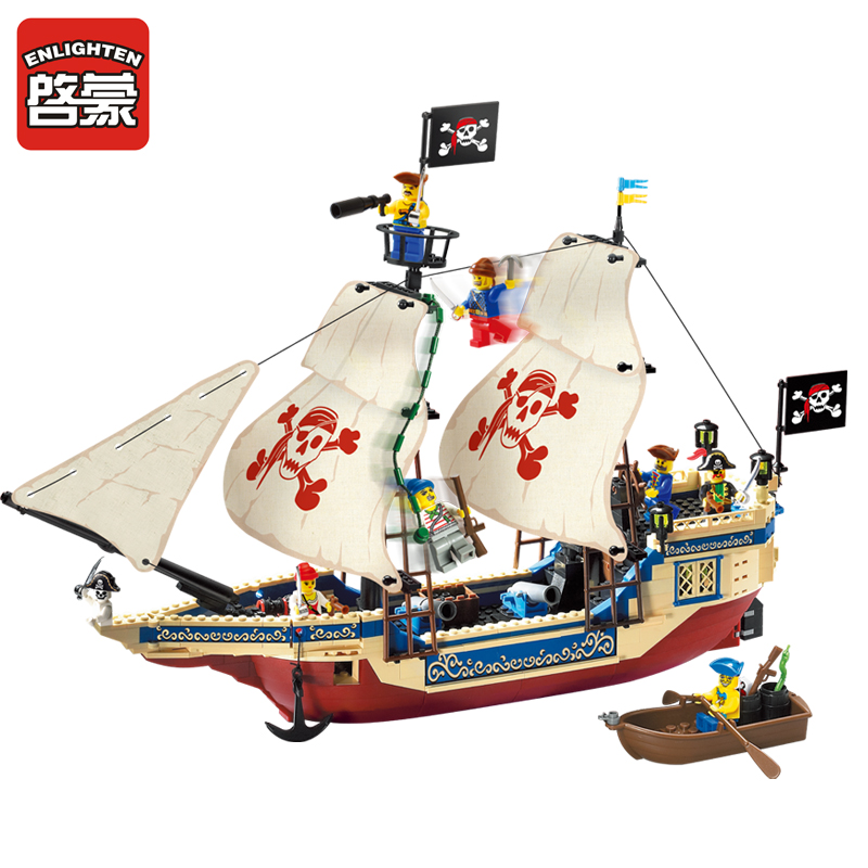 Enlighten Blocks Pirates Series Ship Model Building Blocks Action Figure Bricks Educational Blocks Building Toys for Children enlighten building blocks navy frigate ship assembling building blocks military series blocks girls