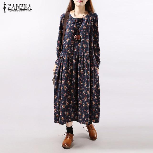 ZANZEA 2017 Outono Do Vintage Print Floral Mulheres Vestido Manga Comprida O Pescoço Pockets Soltas Casual Vestidos Vestidos Plus Size