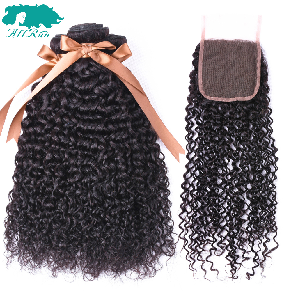 ALLRUN Hair Peruvian Curly Lace Closure 100% Human Hair Bundles With Closure 4*4 Natural Color Non-Remy Hair Weaves
