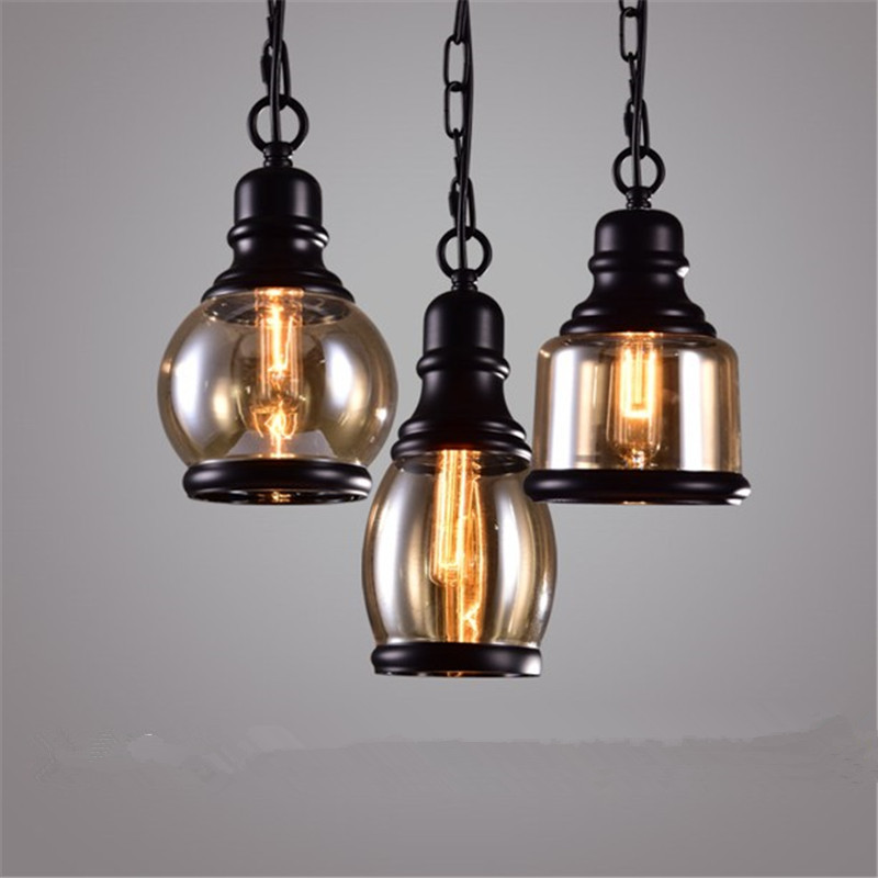Retro Loft Industrial Metal Chain Glass Lampshade E27 Led Bulb Pendant Light Bar Restaurant Dinning Room Cafe Lighting Fixture industrial vintage loft pendant light lamp luster ball glass lampshade e27 holder bar lamps restaurant bedroom lighting fixture