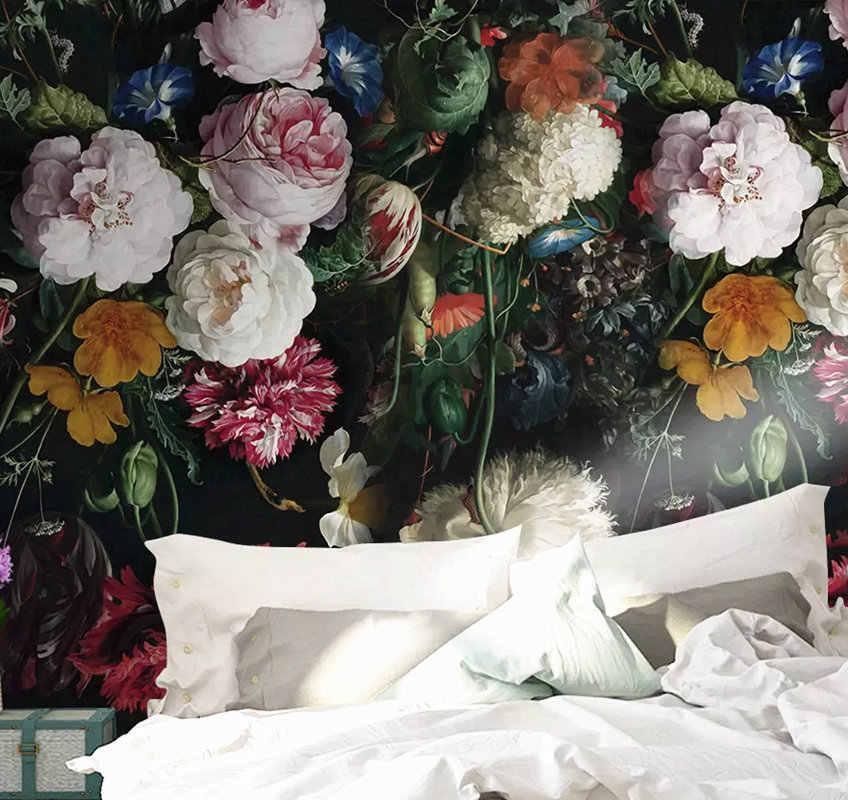 Современные 3D пользовательские фото Настенные обои красочные розовый красный белый цветочный цветок дома декоративные для ТВ диван фон гостиной
