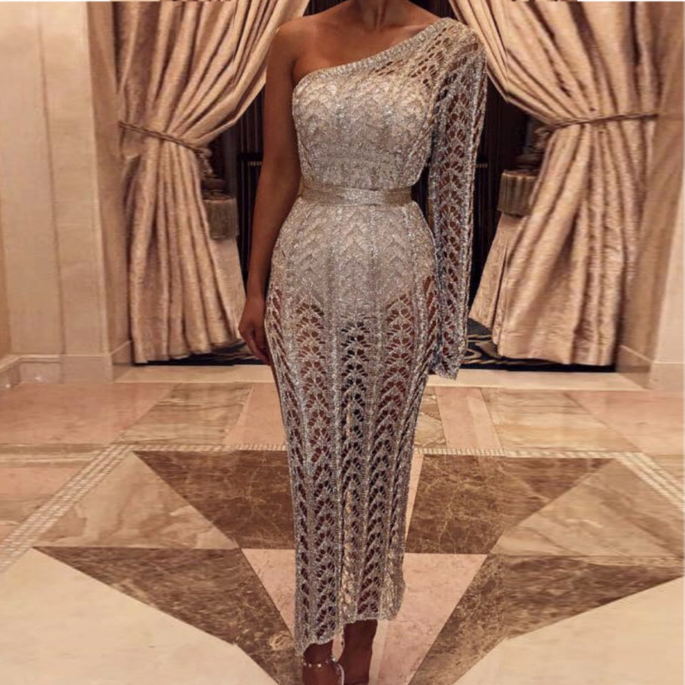 2019 Sexy One Shoulder Irregular Neck Dress Female Knitted Hollow Out Bodycon Party Gold/Rosegold/Silver Dress