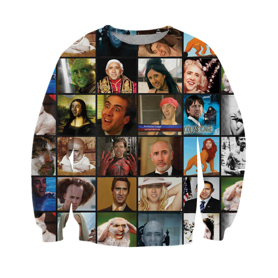 Newest Women/men Clothing 3D Print Hip Hop Famous People Funny Sweatshirts One-Neck Luxury Sweats Tops Hoodies Casual Pullovers