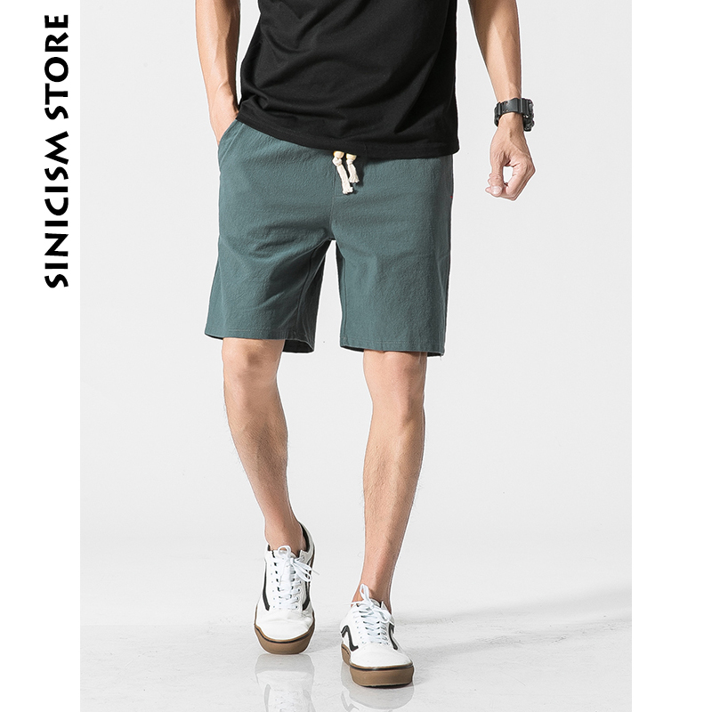 Sinicism Store Plus Size Cotton Linen Men Casual Shorts Male Beach Hawaii Shorts 5XL Solid Color Soft Summer Shorts 2018