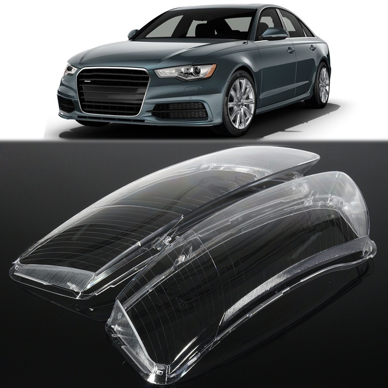 ФОТО 1 Pair Car Clear Headlight Lenses Shell Lamp Cover Lampshade Lampcover For Audi A6 C6