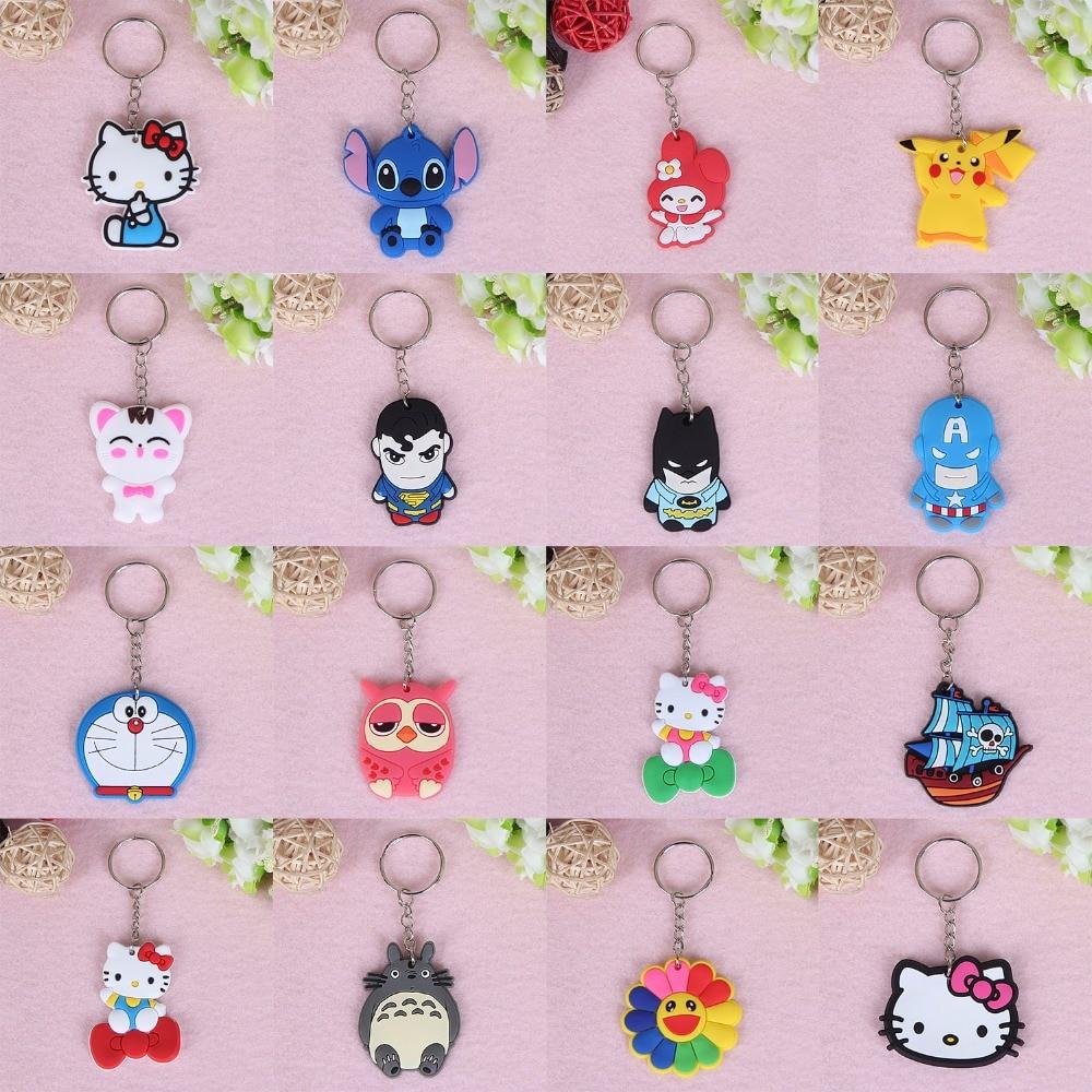 suti 1PCS Cute Cartoon Keychains Cheese cat Bear Key chains Bag Pendant cat Owl Minion key