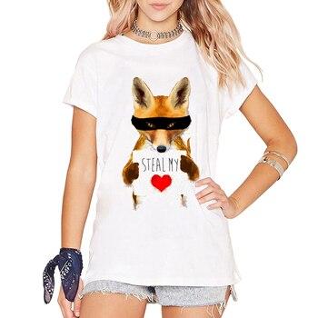 b28abc72772f Más nuevo diseño creativo zorro robar mi corazón y un corazón camiseta  Camiseta de manga corta Funny tops señoras personalizar camiseta