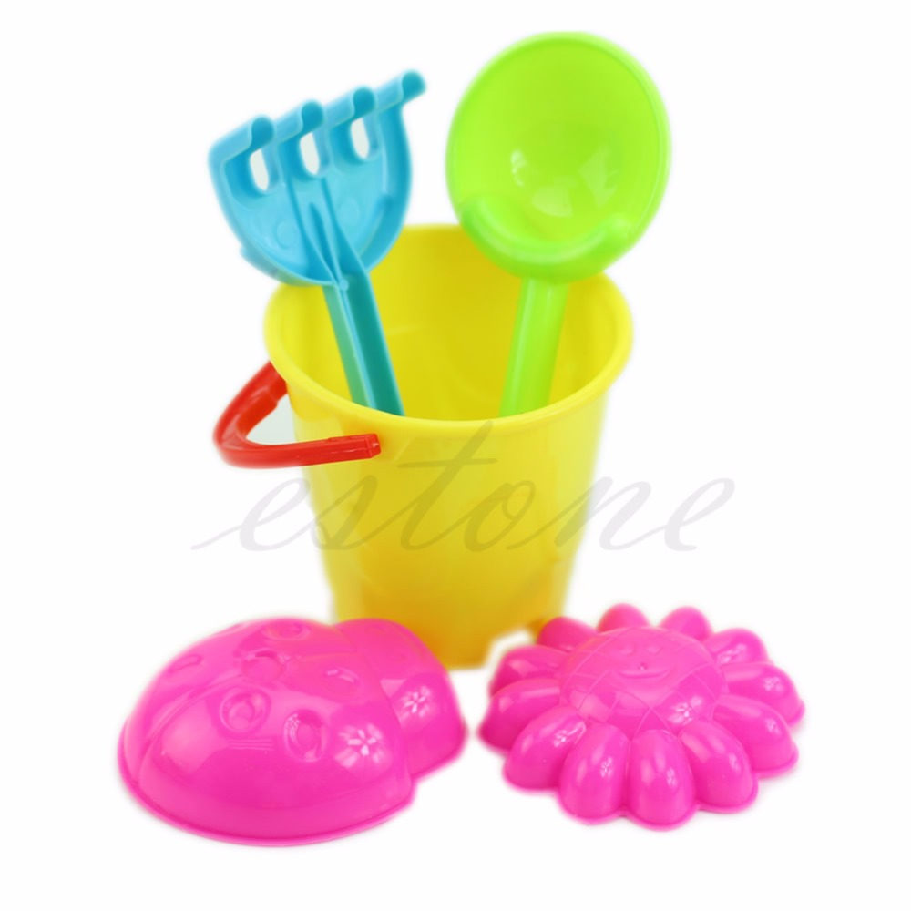 5Pcs/Set Tiny Beach Sand Toys Tools Bucket Set For Toddler Kids Children Gift