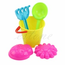 5Pcs/Set Tiny Beach Sand Toys Tools Bucket Set For Toddler Kids Children Gift цены онлайн