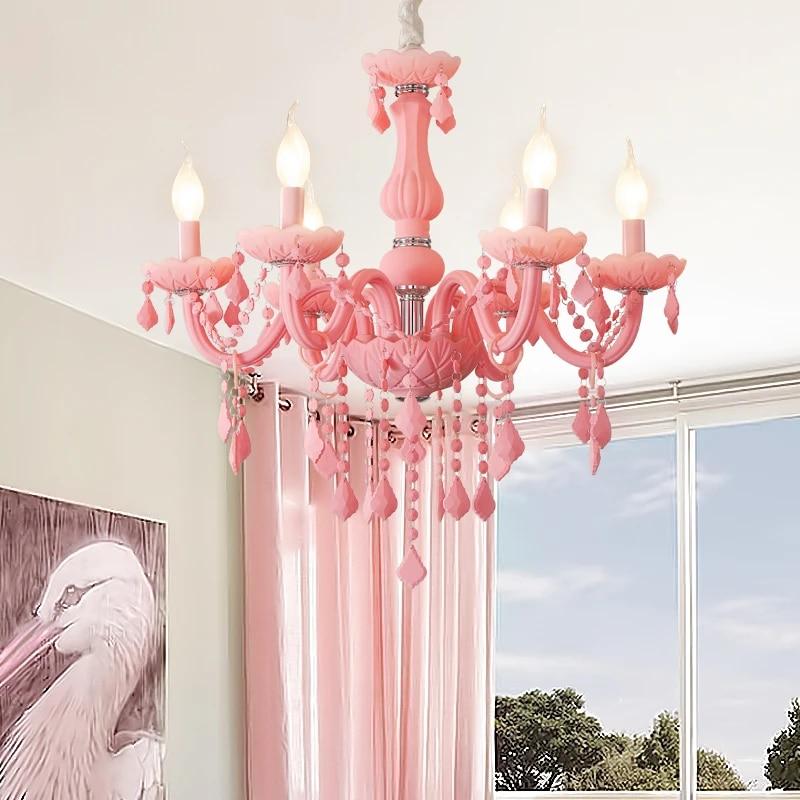 Girls Room Chandelier Living Room Bedroom Kids Room Chandeliers Lampadario Lustre Fixture Pink Chandelier Lighting Fixtures Chandeliers Aliexpress