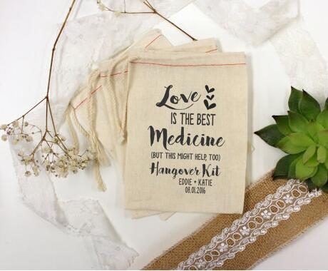 Custom Love Is The Best Medicine Bridesmaid Wedding Bachelorette Hangover Recovery Survival Kits Party Candy Pouches Favor Bags