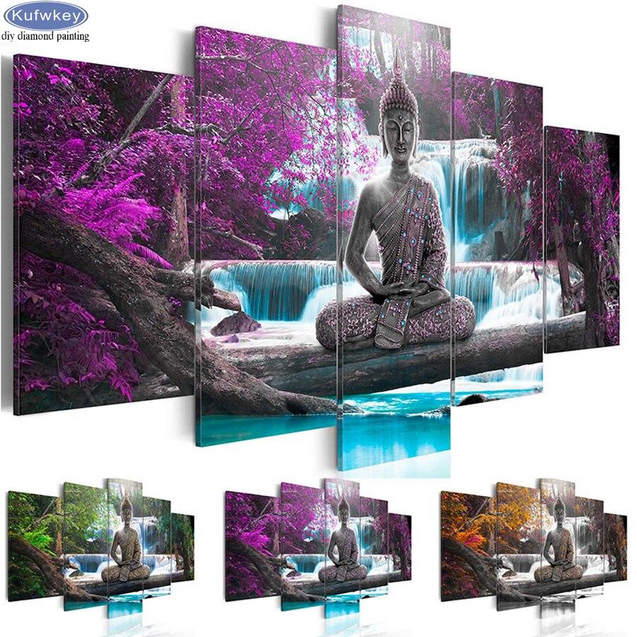 5d diy diamond painting Waterfall Buddha cross stitch 5 pcs set diamond embroidery religious full square