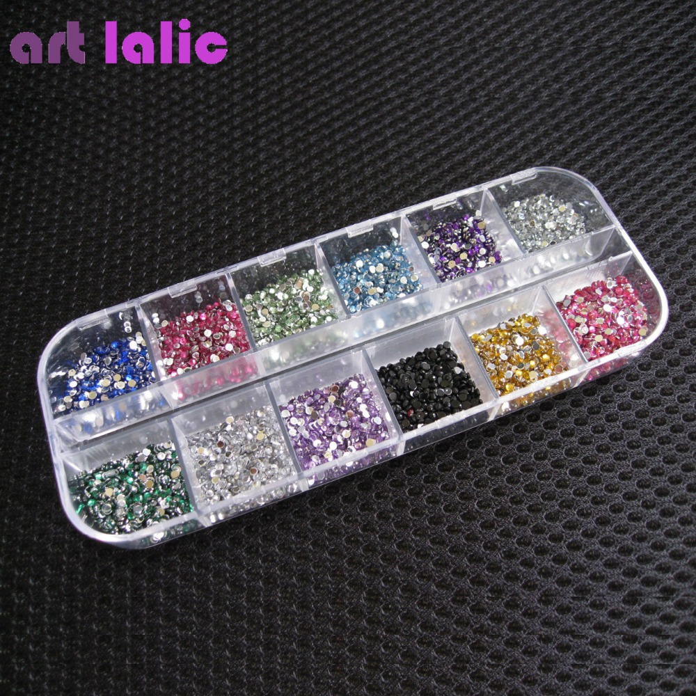 3000pcs 1.5mm Rhinestones Nail Decoration Round Farverige Glitters med hård sag DIY Nail Art Decorations
